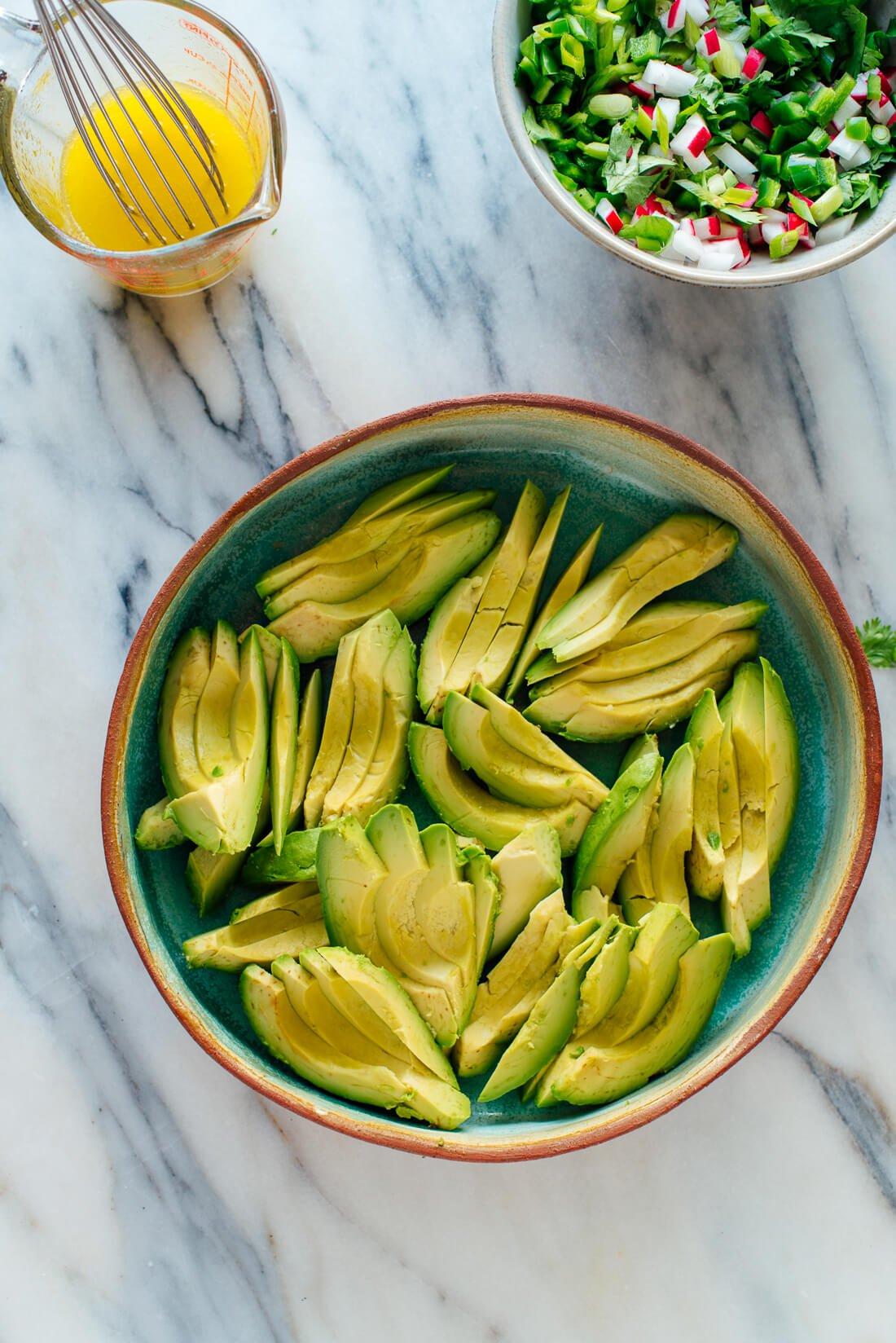 sliced avocados for salad
