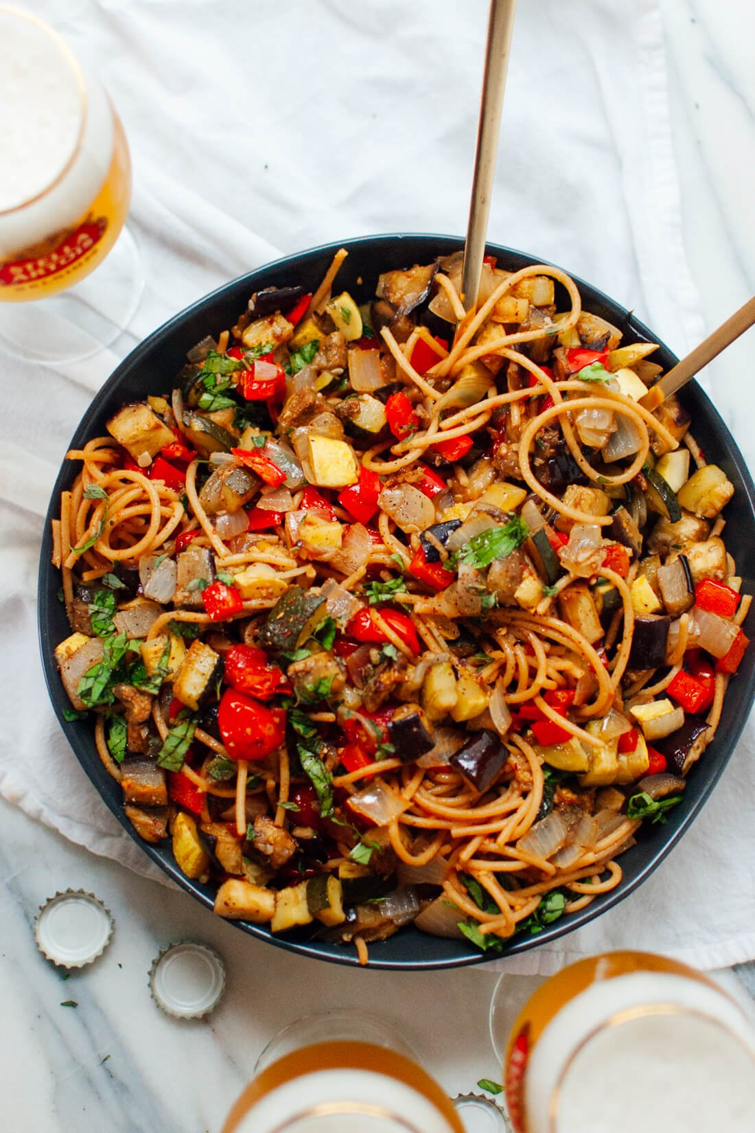 spicy roasted ratatouille with spaghetti