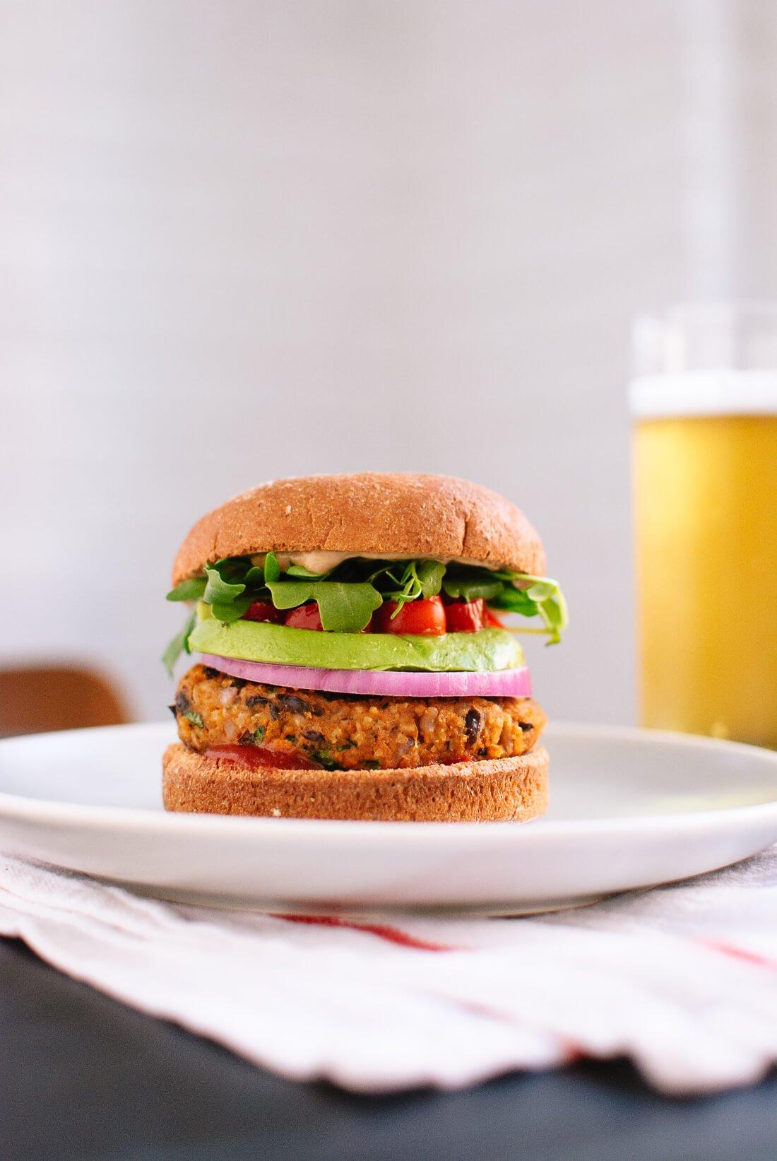 Sweet potato and black bean veggie burgers