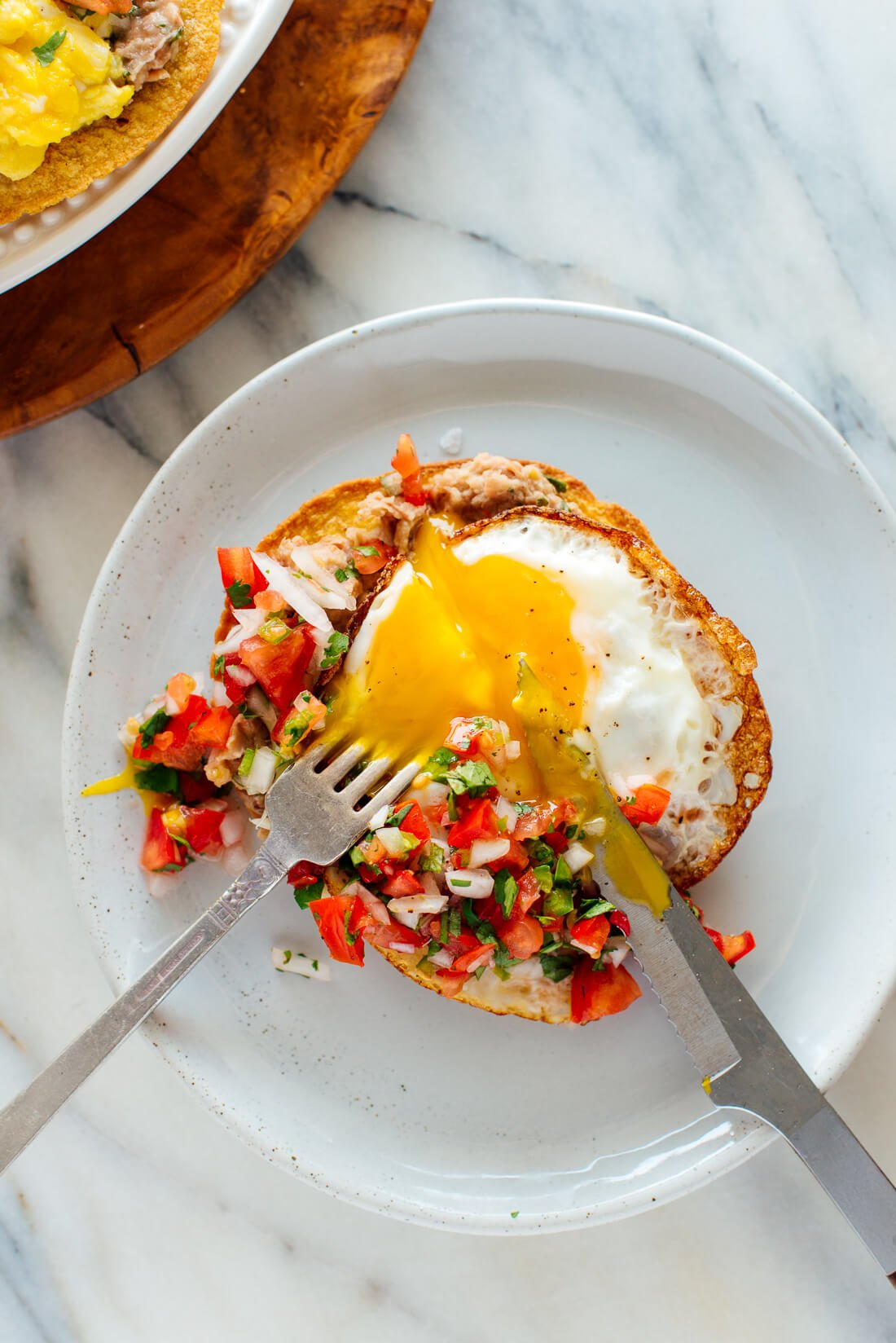 breakfast tostadas with fried egg