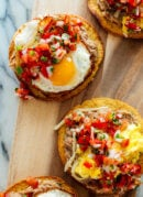 breakfast tostadas with refried beans and pico de gallo