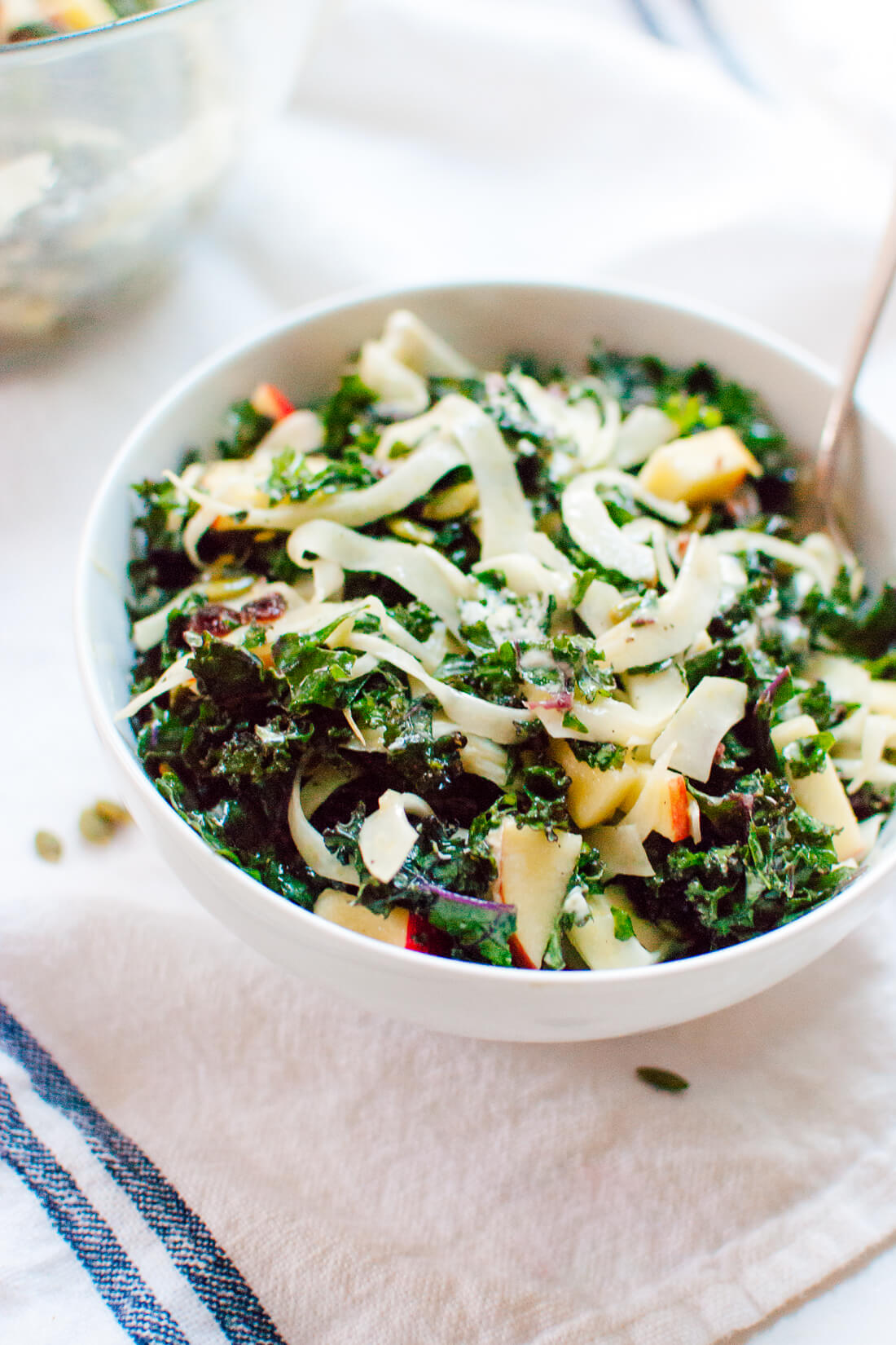 Fennel and honeycrisp apple kale salad