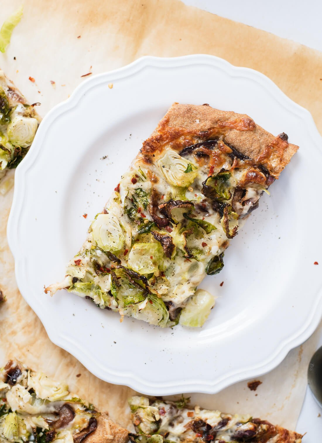 Brussels sprouts pizza slice