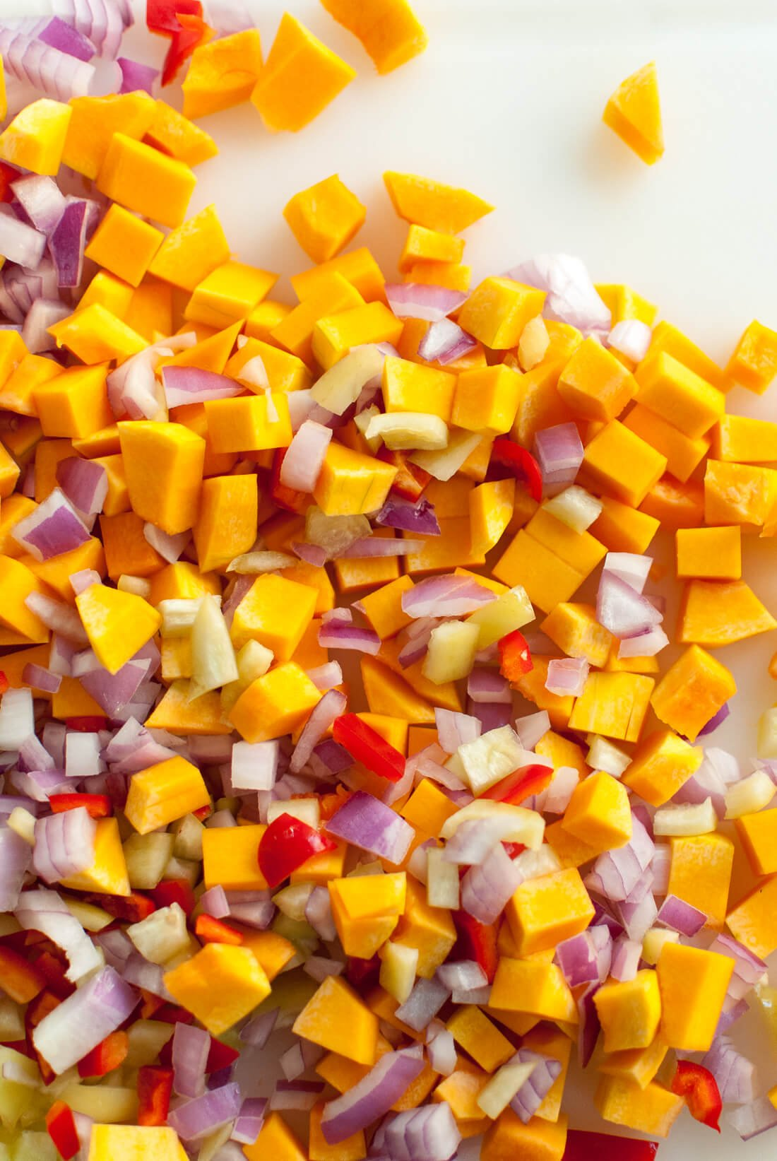 diced butternut squash, onion and bell pepper
