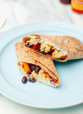 healthy freezer burritos with sweet potato hash