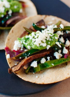 Portobello mushroom and poblano pepper fajitas