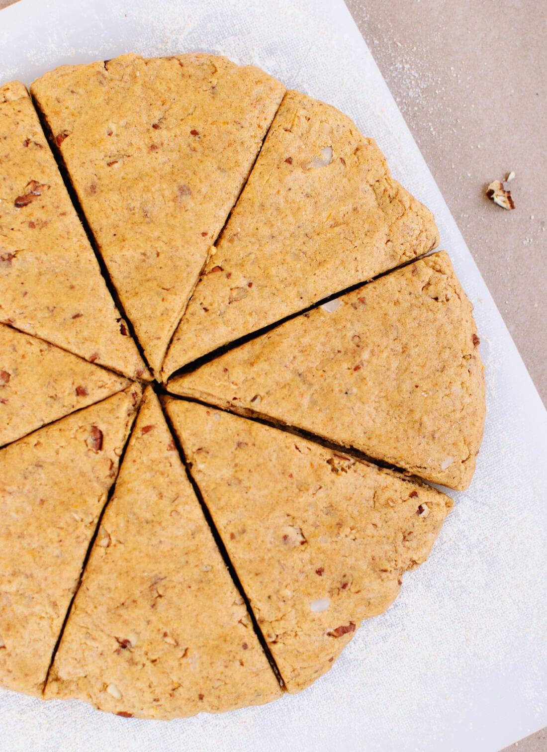 pumpkin pecan scones once sliced