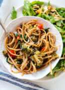 Spinach Pasta with Roasted Broccoli & Bell Pepper