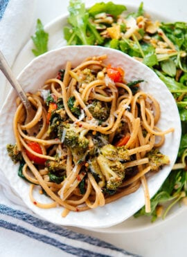 Spinach pasta recipe, featuring lots of roasted vegetables tossed in a light balsamic sauce