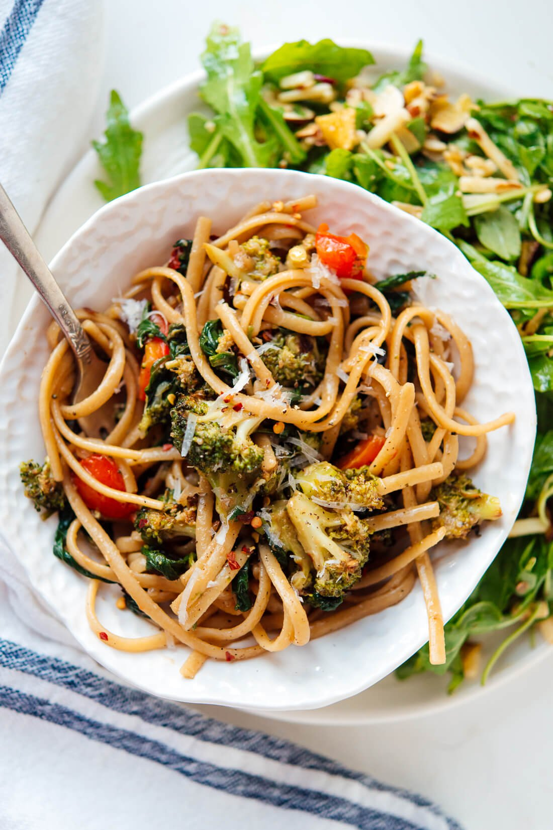 Spinach Pasta With Roasted Vegetables