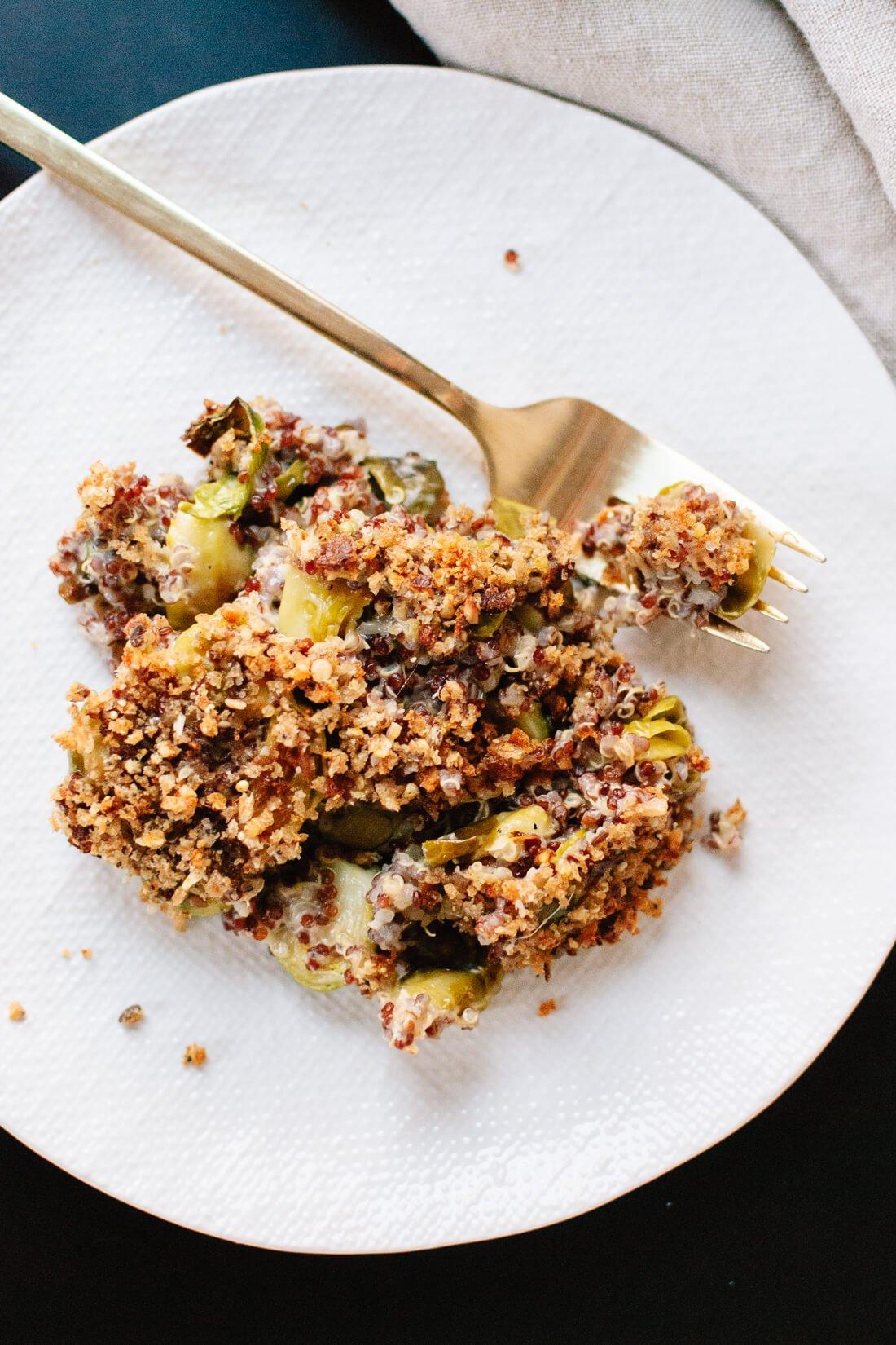 Creamy Brussels sprout quinoa gratin recipe