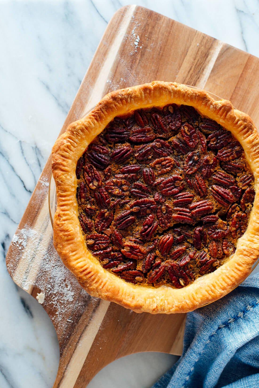 maple-sweetened pecan pie recipe
