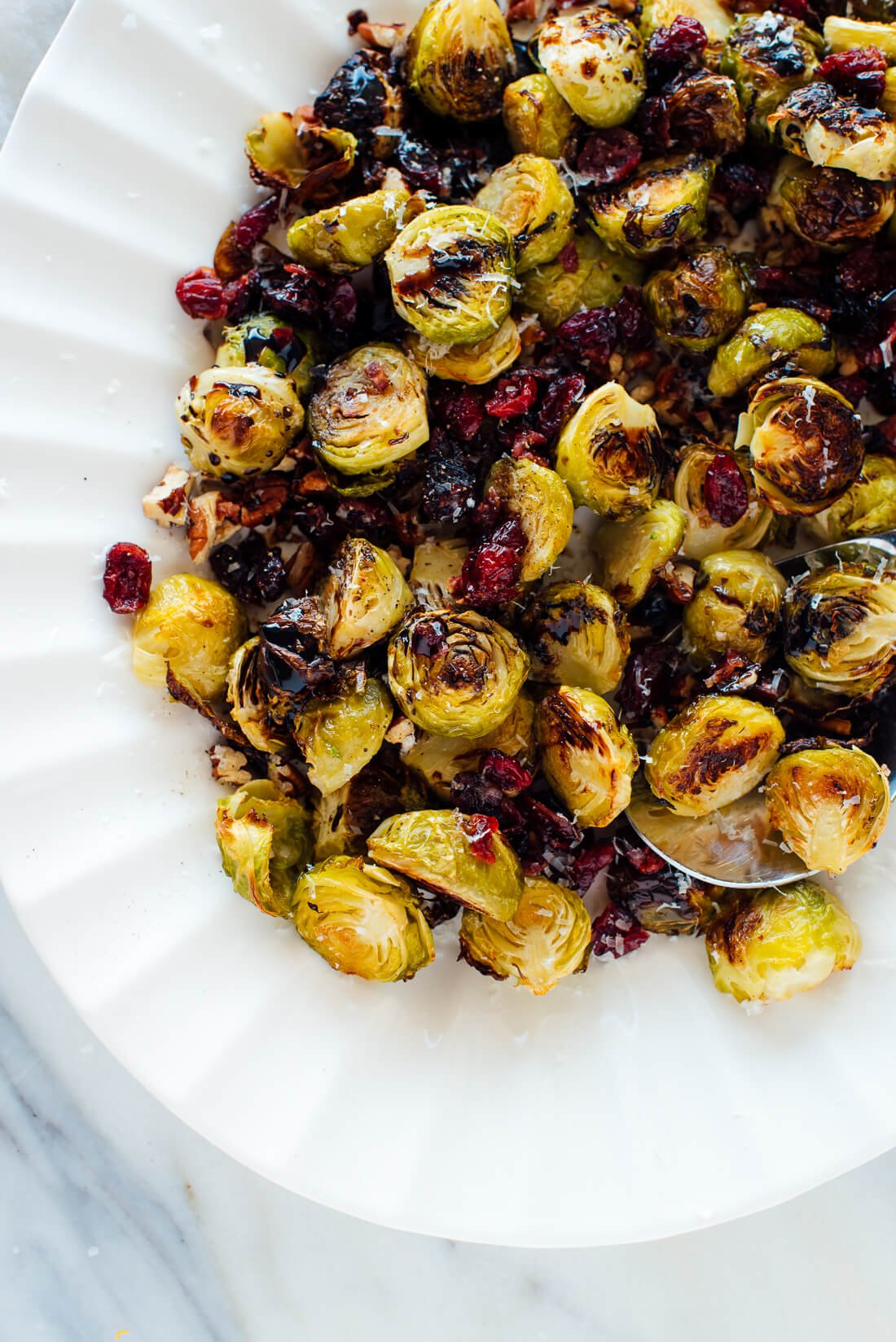 roasted brussels sprouts with cranberries pecans balsamic vinegar recipe