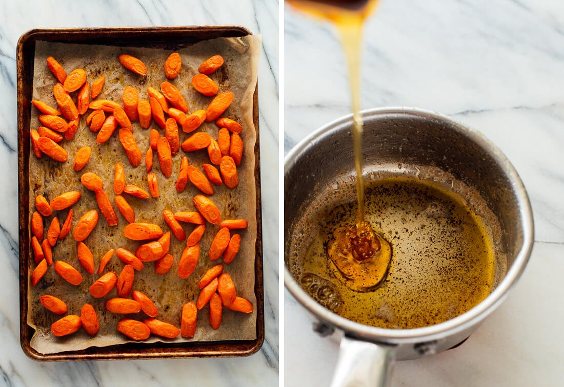 roasted carrots and honey butter
