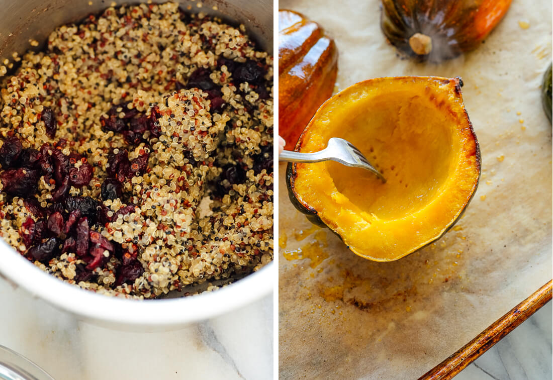cooked quinoa and acorn squash