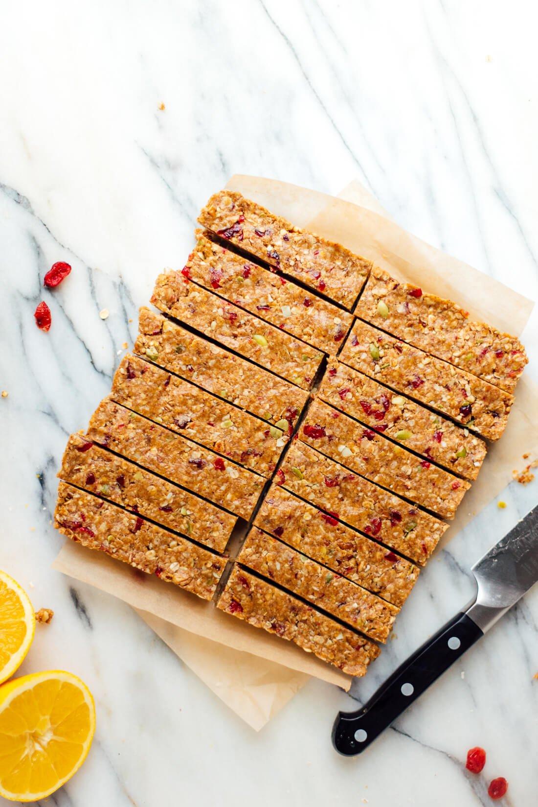 cranberry orange granola bars