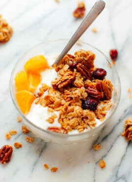 cranberry orange granola with yogurt