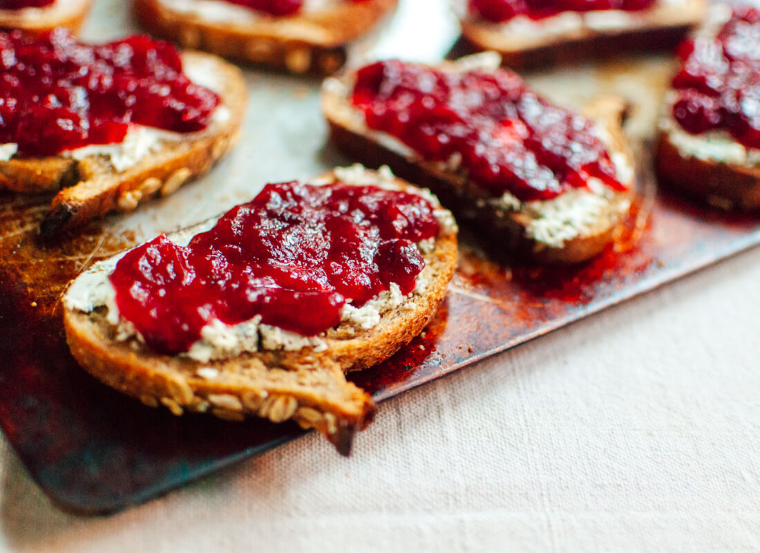 Cranberry goat cheese crostini