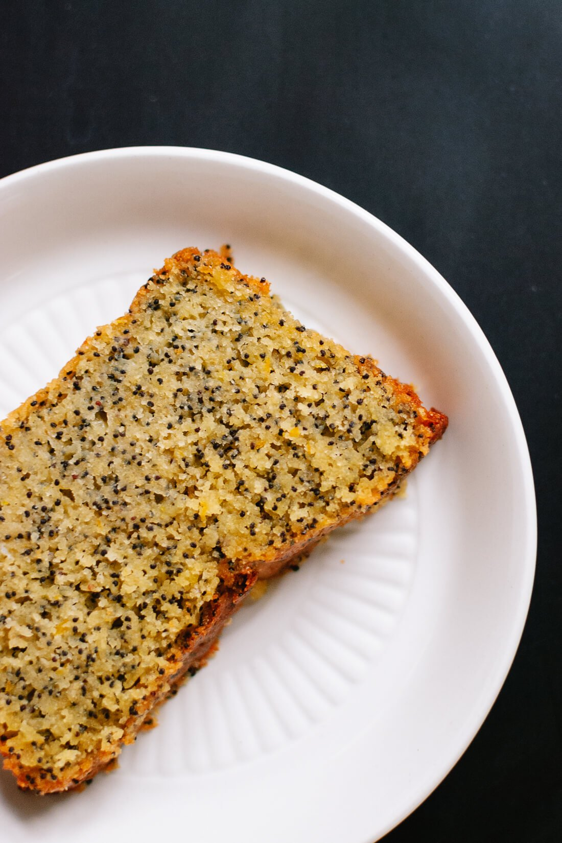 Orange poppy seed pound cake slice