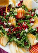 pomegranate pear arugula salad with ginger dressing