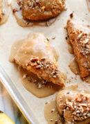 Banana nut scones with maple glaze