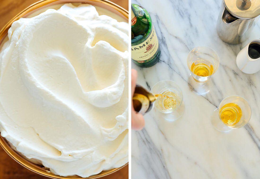 whipped cream and Irish whiskey