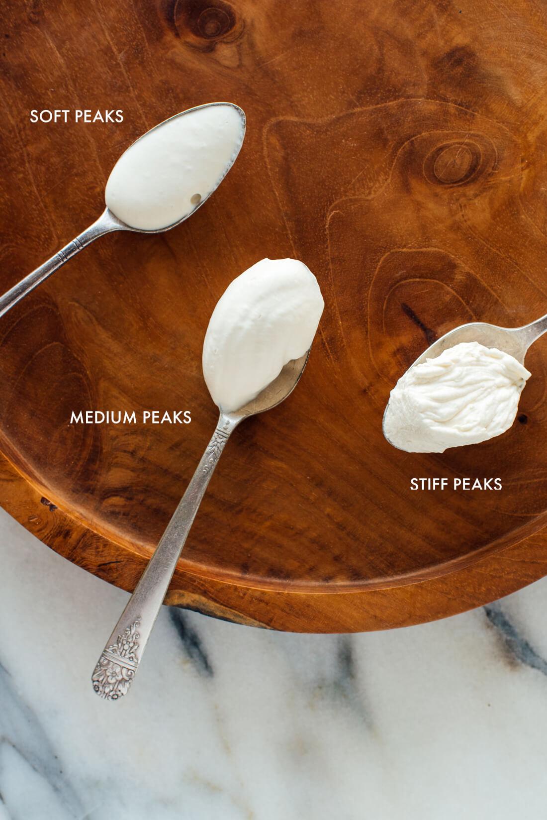 whipped cream examples of soft, medium and stiff peaks