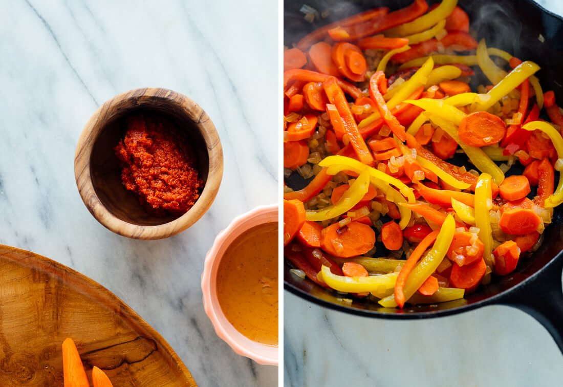 curry paste and bell peppers and carrots