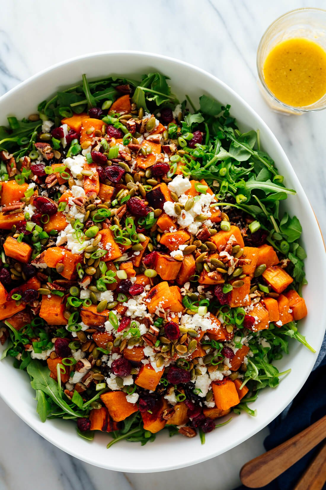 hearty sweet potato, arugula, wild rice salad with ginger dressing recipe