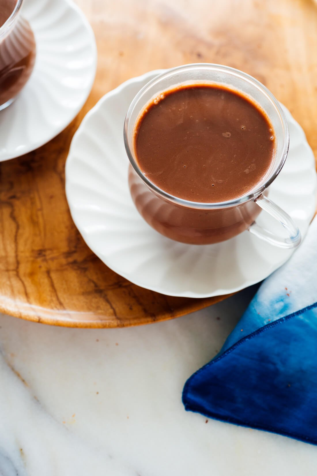 steaming cups of hot chocolate