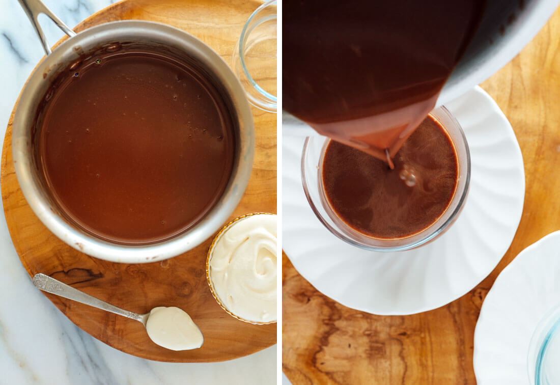 Pour hot chocolate