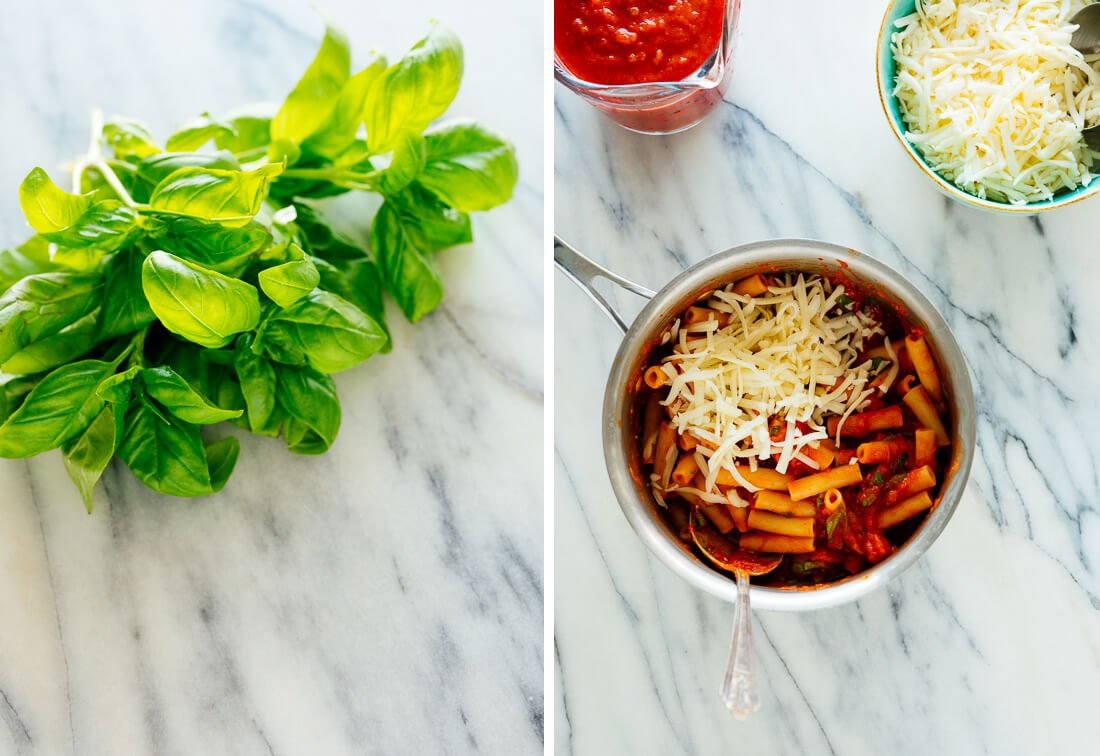 basil and cooked pasta with marinara