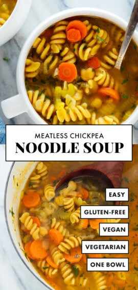 meatless chickpea noodle soup recipe