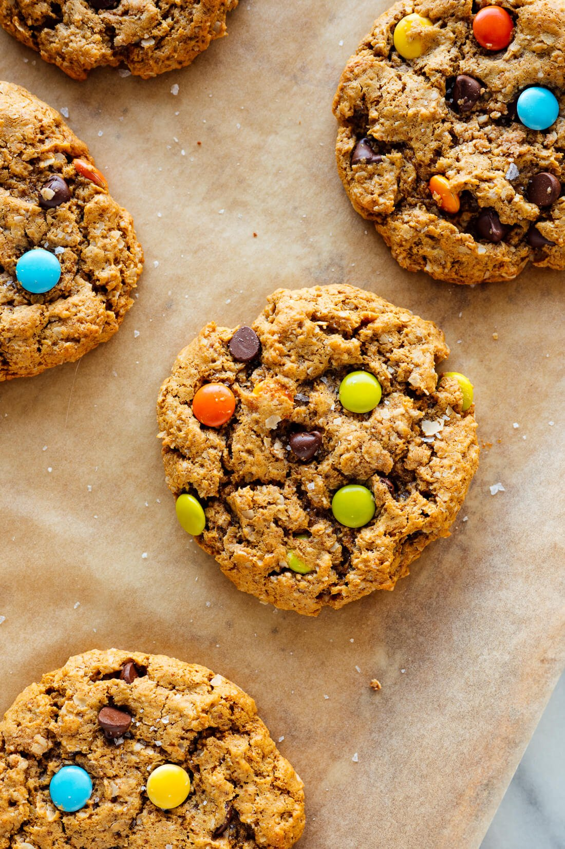 oatmeal peanut butter cookies with chocolate and colored chocolate candies