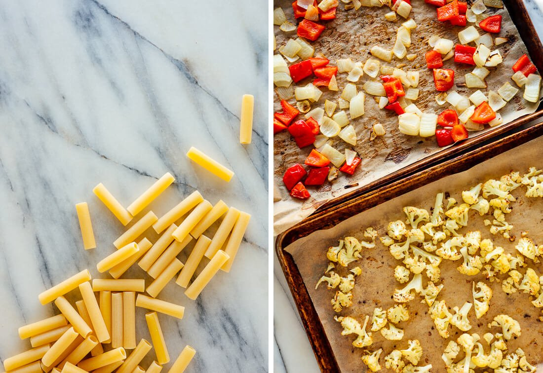 ziti and roasted vegetables