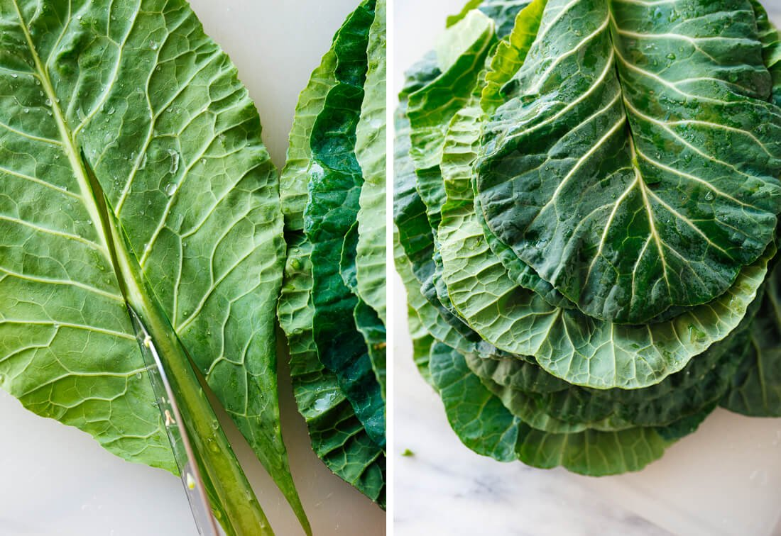 how to cut ribs from collard greens