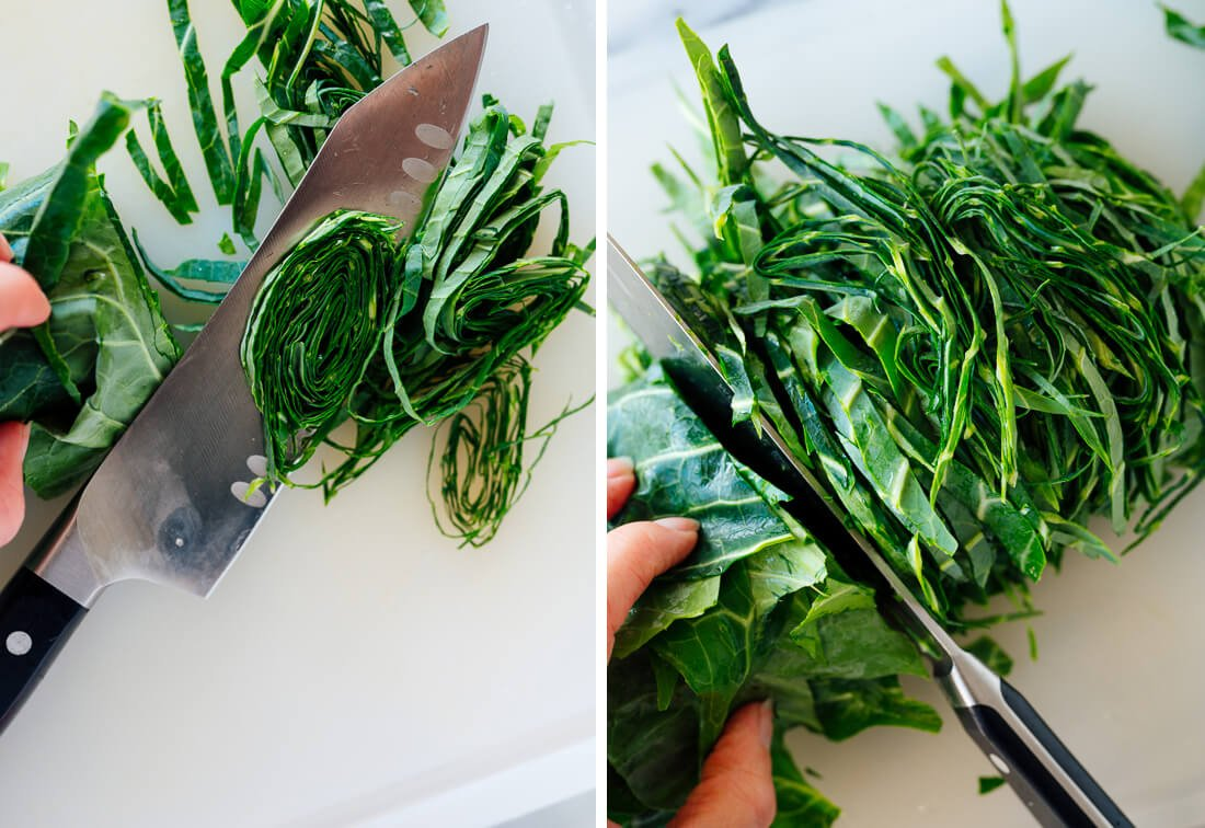 how to thinly slice collard greens