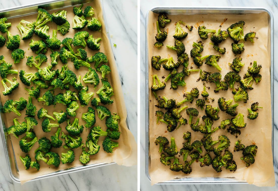 raw and roasted broccoli