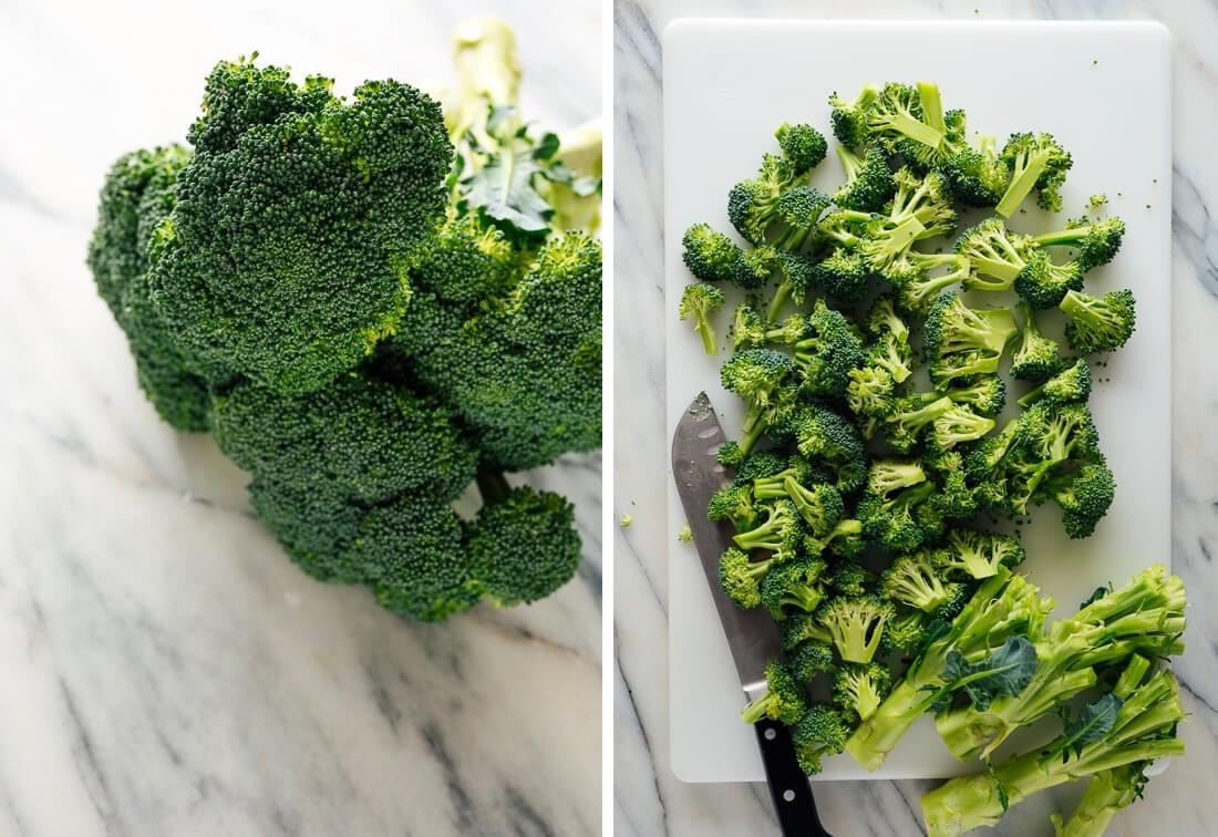 raw broccoli, sliced into florets