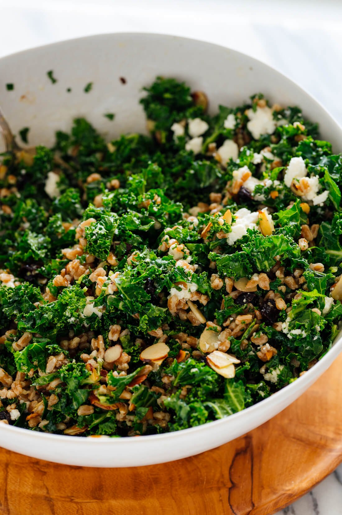 farro and kale salad with goat cheese almonds and dried cherries
