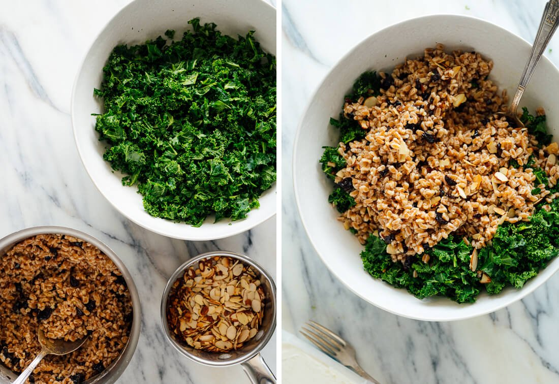 how to make kale farro salad