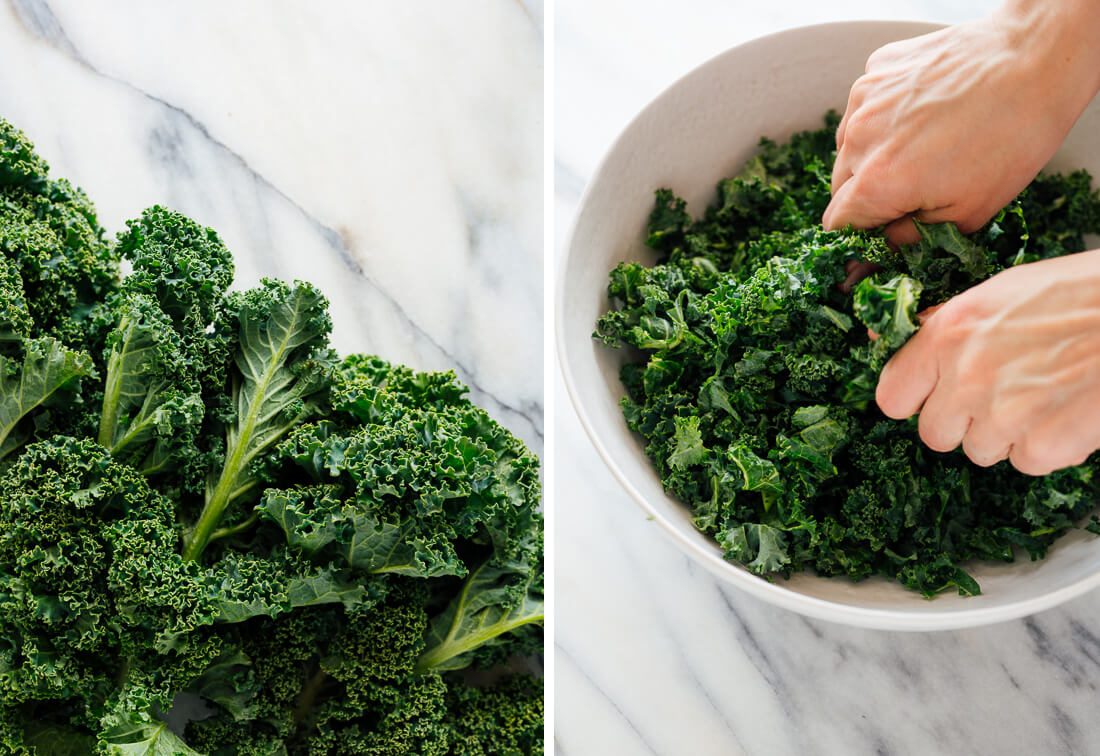 kale, before and after chopping