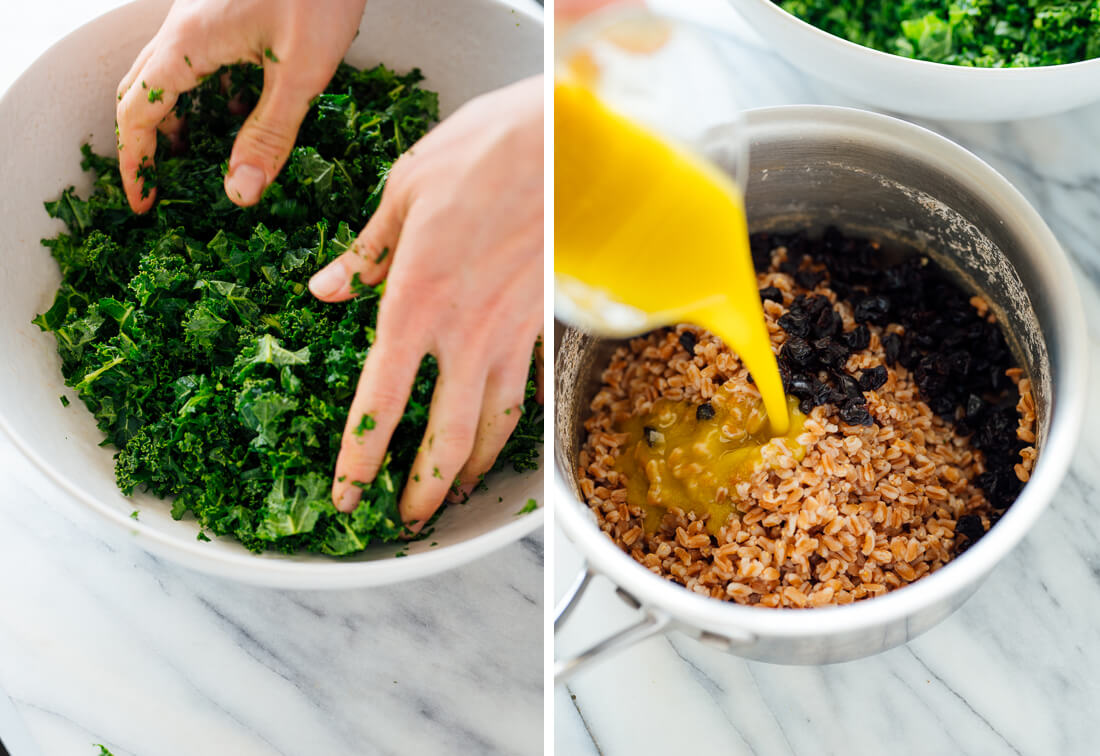 massaged kale and cooked farro