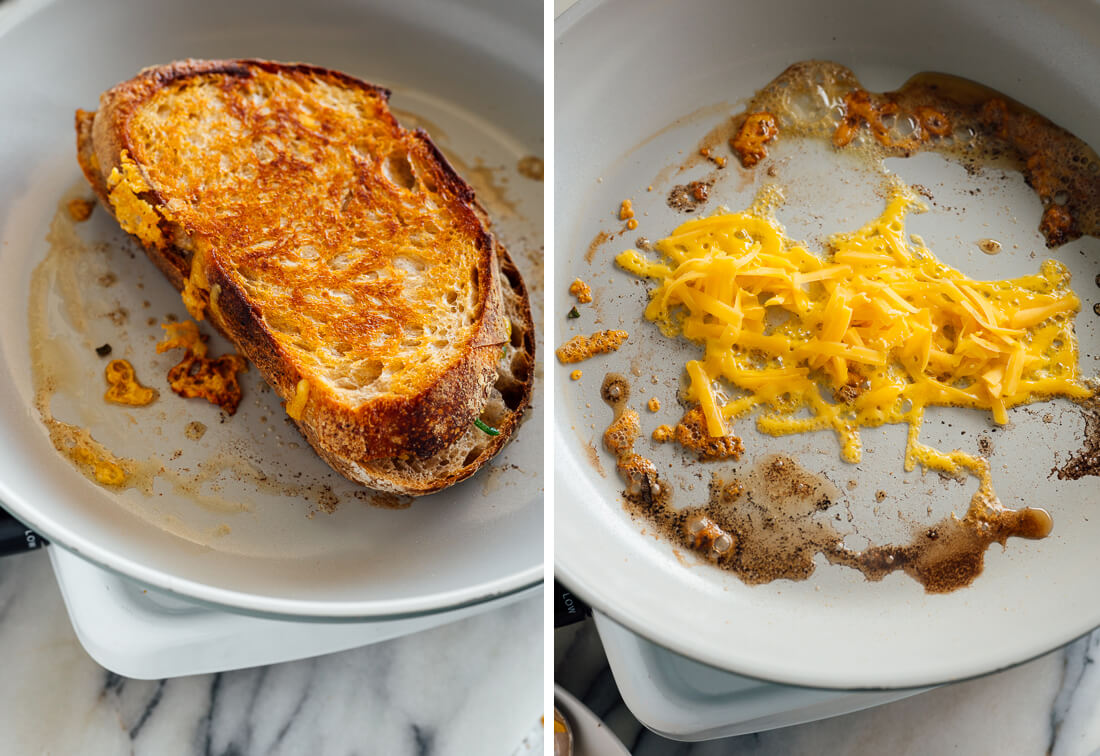 the trick to cheesy outside grilled cheese sandwich