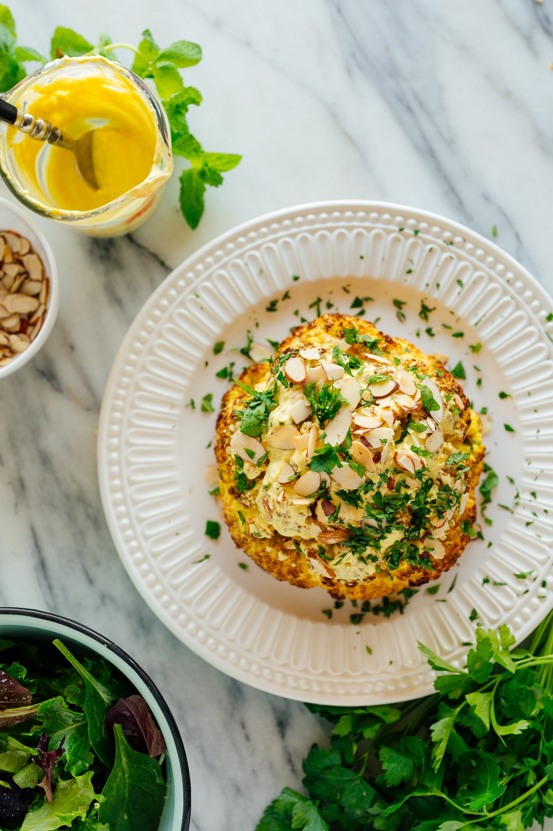 whole roasted cauliflower recipe with spiced yogurt