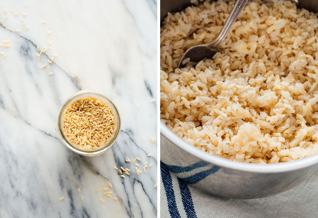brown rice before and after cooking