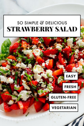 strawberry basil salad recipe with goat cheese and balsamic reduction