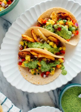 Halloumi Tacos with Pineapple Salsa & Aji Verde