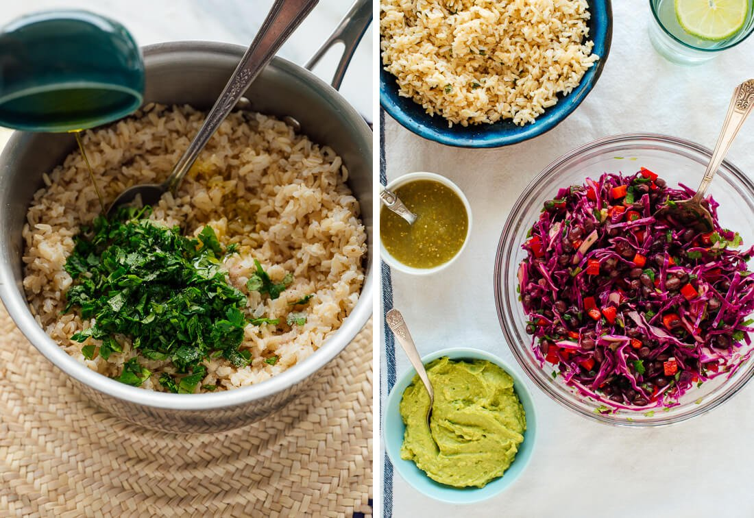 brown rice with cilantro and citrus juice