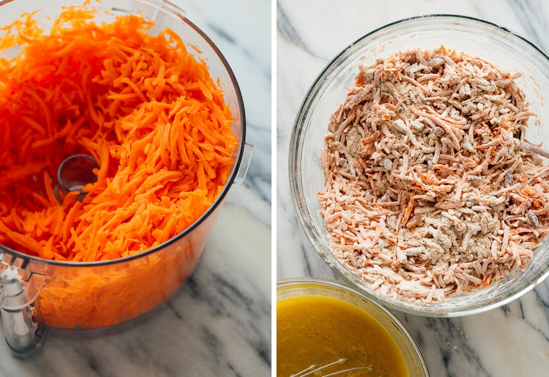 grated carrots for carrot cake